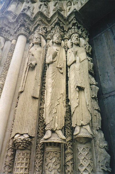 Sculptures of two Old Testament kings and a queen at Chartres Cathedral