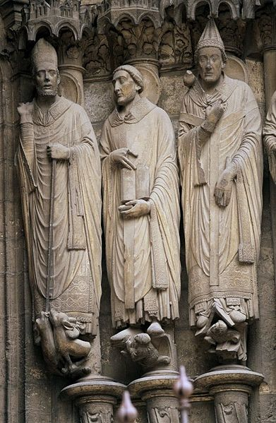 Sculptures of Saints Martin, Jerome, and Gregory at Chartres Cathedral
