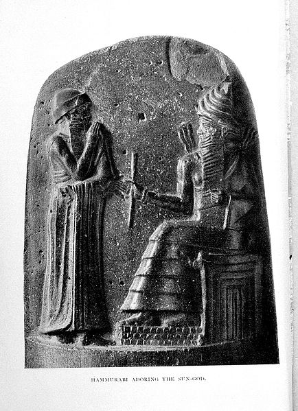 Hammurabi with the god Shamash~1750 BCRelief carving on diorite (stone)