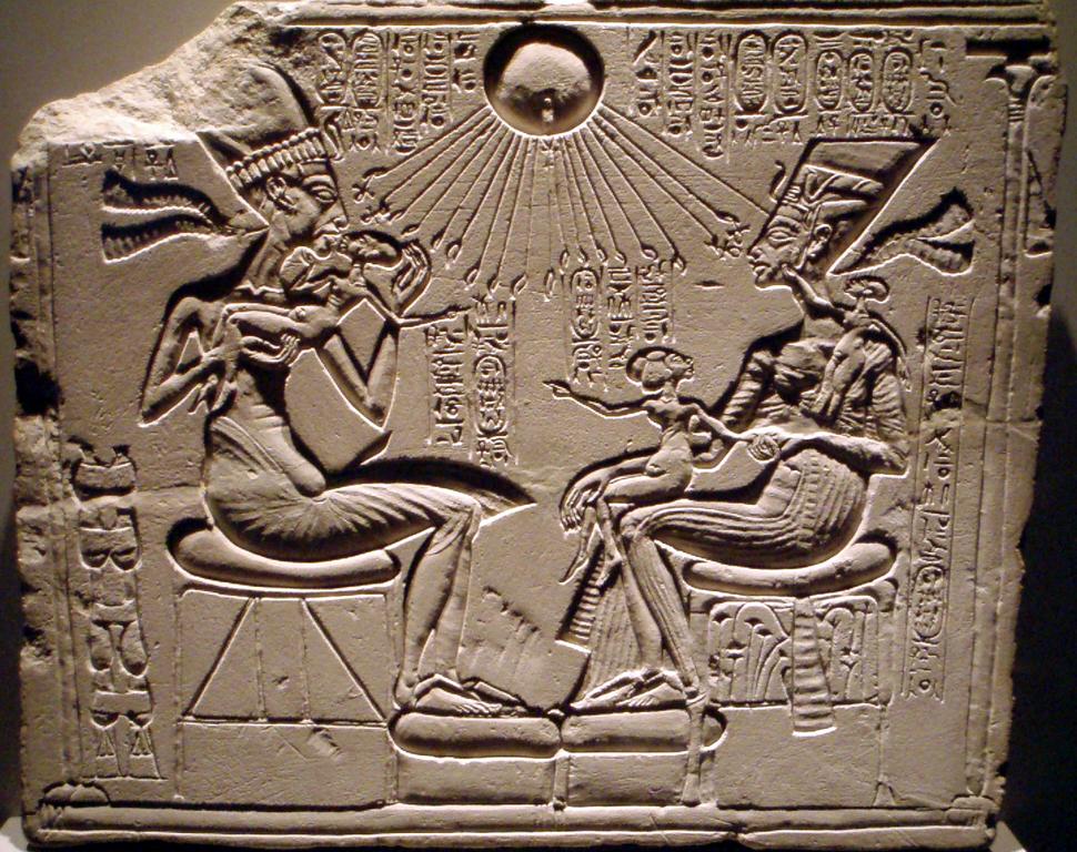 House altar depicting Akhenaten, Nefertiti and three of their daughters