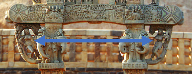 Two Yakshi at northern torana of the Great Stupa of Sanchi