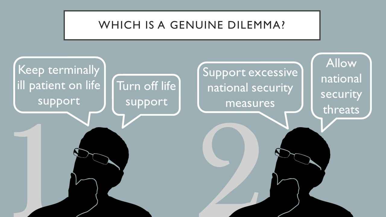 Which is a genuine dilemma? Keep the terminally ill patient on life support.  Turn off the life support.  Or, support excessive national security measures.  Allow national security threats.