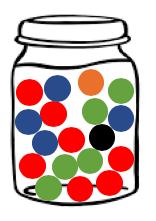 Jar of 18 Marbles