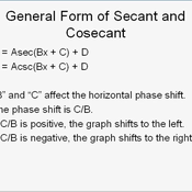 Horizontally Shifting the Graph of Secant and Cosecant