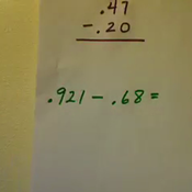 Subtracting Tenths or Hundredths from Hundredths or Thousandths
