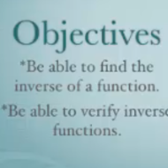 Functions #3 (Inverse functions and their domains, verifying two functions are inverses.)