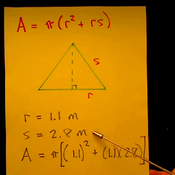 Solving for the Surface Area of a Right Circular Cone