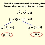 Using the Difference of Two Squares to Solve Equations