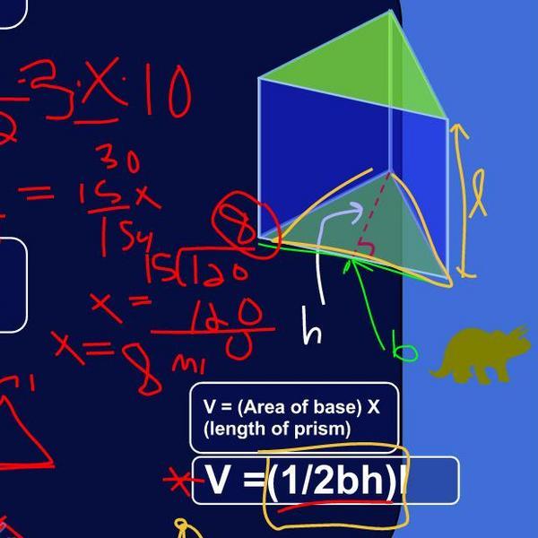 Determining Unknown Values Using Volume of Triangular Prisms