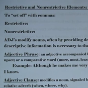 Restrictive and Non Restrictive Elements