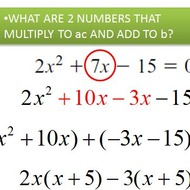 Factoring Trinomials by splitting linear terms.