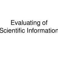 Evaluation of Scientific Information