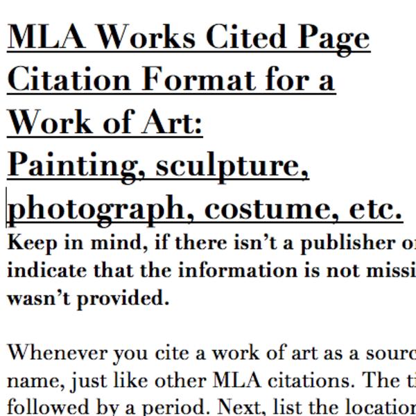 MLA Bibliography: Art Sources
