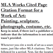 MLA Bibliography: Art Sources