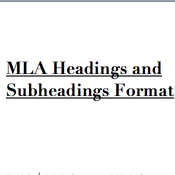 MLA Format: Headings and Subheadings
