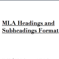 how to do subheadings in mla
