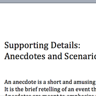 Supporting Details: Anecdotes