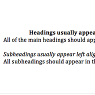 Headings and Subheadings