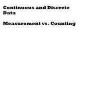 Continuous vs Discrete Data