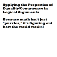 Applying the Properties of Equality/Congrunce in Logical Arguements