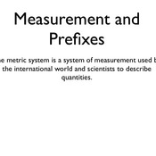 Measurements and Prefixes