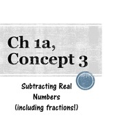 Chapter 1a, Concept 3 - Subtracting Real Numbers (including fractions)