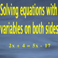 1-9 Solving Equations with Variables on Both Sides
