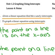 Unit 1.2 Lesson #4 Graphing Using Intercepts