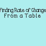 10-10 Finding Rate of Change from a Table