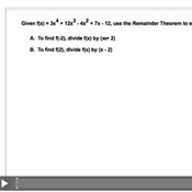 Evaluating Polynomials With The Remainder Theorem