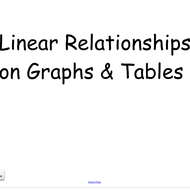 11-10 Linear Relationships in Graphs and Tables