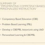 "Summary of ""Implementing Competency Based, Personalized Instruction"""