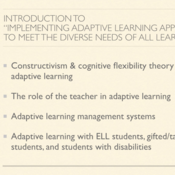 """Introduction to """"Implementing Adaptive Learning to Meet the Diverse Needs of All Learners"""""""