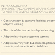 "Introduction to ""Implementing Adaptive Learning to Meet the Diverse Needs of All Learners"""