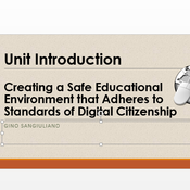"""Introduction to """"Creating a safe educational environment that adheres to standards of digital citiz"""