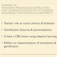 "Summary of ""Planning Personalized Instruction that Leverages Technology to Increase Engagement..."
