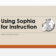 Using Sophia for Instruction