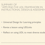 """Summary of """"Applying the Universal Design for Learning (UDL) Framework in Instructional Design"""""""