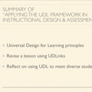 "Summary of ""Applying the Universal Design for Learning (UDL) Framework in Instructional Design"""