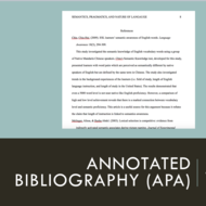 Annotated Bibliography (APA)