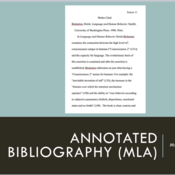 Annotated Bibliography (MLA)