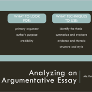 Analyzing an Argumentative Essay