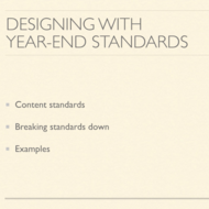 Using Year-end Standards to Build Competencies