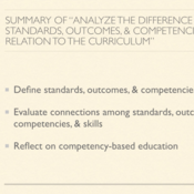 """Summary of """"Analyze the Difference Between Standards, Outcomes, and Competencies in Relation to the"""