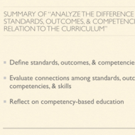 "Summary of ""Analyze the Difference Between Standards, Outcomes, and Competencies in Relation to the"