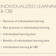 Individualized Learning and CBE
