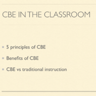 CBE in the Classroom
