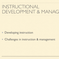 Instructional Development and Management