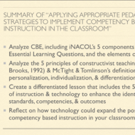 "Summary of ""Applying Appropriate Pedagogical Strategies to Implement CB Instruction in the Classroom"