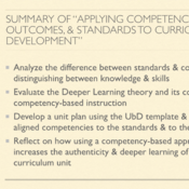 """Summary of """"Applying Competencies, Outcomes, and Standards to Curriculum Development"""
